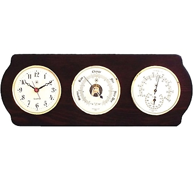 Bey-Berk Brass and Ash Wood Clock/Barometer/Thermometer/Hygrometer