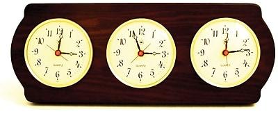 Bey-Berk Brass/Ash Wood Multi Zone Clock With 3 Brass Plates