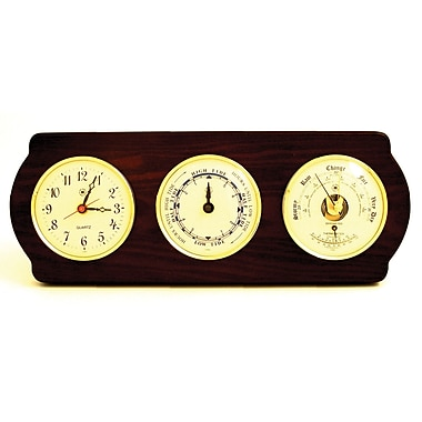 Bey-Berk Clock, Tide Clock, Barometer, and Thermometer, Brass/Ash (WS418)