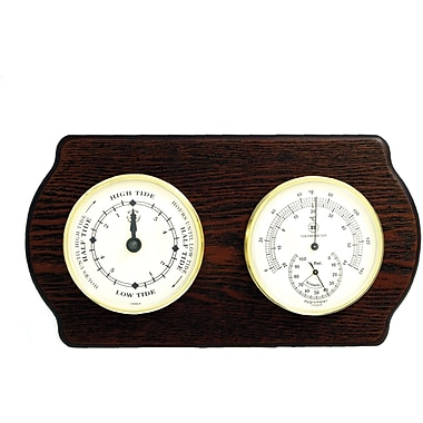 Bey-Berk Brass and Ash Wood Tide Clock/Thermometer/Hygrometer