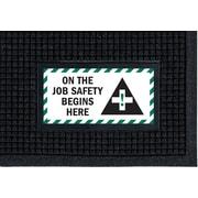 """M + A Matting Waterhog™ Sign Mat - """"JOB SAFETY"""", 4' x 6', Vertical, Cleated (1483983)"""