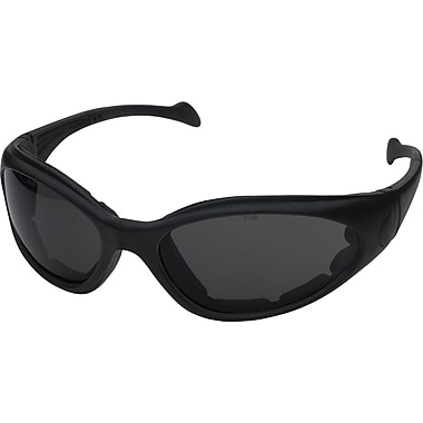 Dentec Sand Viper Black Frame Safety Glasses with Foam Spatula Temple & Strap, Grey AF Lens