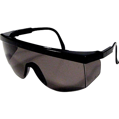 Dentec Blaze Black Frame Safety Glasses with Adjustable Temples, Grey Lens