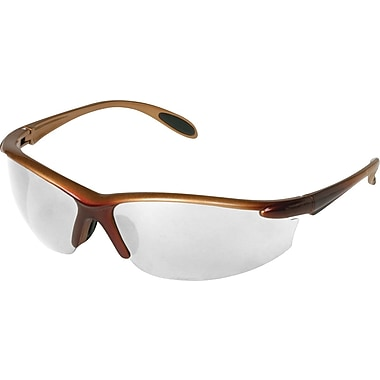 Dentec Catalina Safety Glasses, Brown Metallic Frame with Paddle Temples, Clear Lens