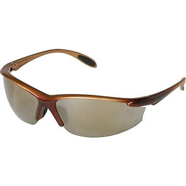 Dentec Catalina Safety Glasses, Brown Metallic Frame with Paddle Temples, Gold Mirror Lens
