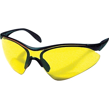 Dentec Citation 937 Safety Glasses Series Eyewear Black Frame with Paddle Temples, Yellow Lens