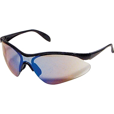 Dentec Citation 937 Safety Glasses Series Eyewear Black Frame with Paddle Temples, Blue Mirror Lens