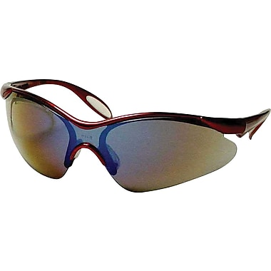 Dentec Citation 937 Safety Glasses Eyewear with Paddle Temples, Burgundy Frame & Blue Mirrored Lens