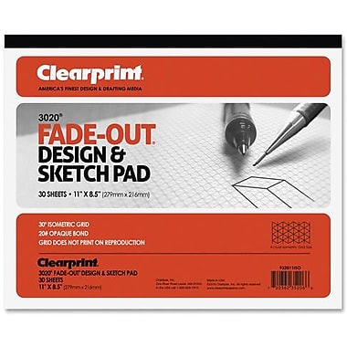 Chartpak® Isometric Grid Fade-Out® Design & Sketch Paper Pad, 8-1/2
