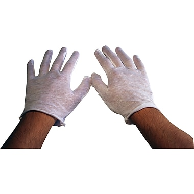 Ambitex Inspector Gloves, 100% Cotton, One Size Fits, White, 12/Bag