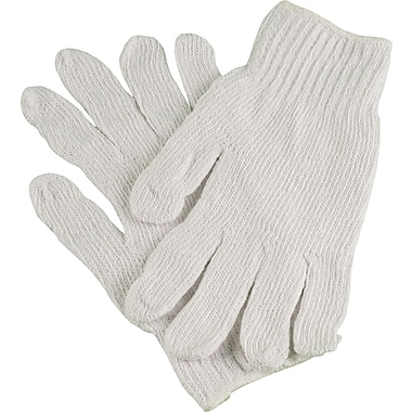 Ambitex Work Gloves, Cotton Polyester Blend, Medium, White, 12/Bag