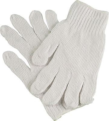Ambitex Work Gloves Cotton Polyester Blend, Large, White, 12/Bag