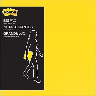 Post-it® Grand bloc, 11 po x 11 po, jaune électrique, 30/paq.