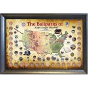 "Major League Baseball Parks ""Map""  Framed Collage with Game-Used Dirt (2012 Verison) 20x32"