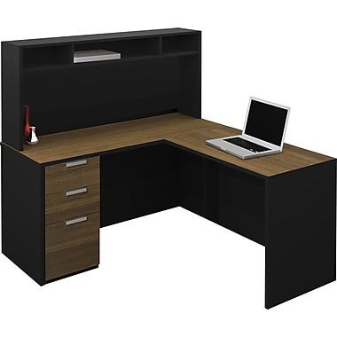 Bestar 110851-98 Corner Desk, Black/Milk Chocolate Bamboo