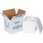 "8"" x 6"" x 7"" Insulated Shipper, 32 ECT, White, (207C) 1-1/2"" Thickness"