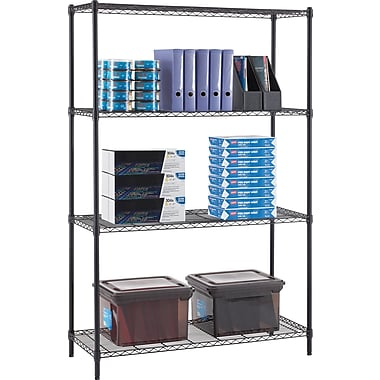 Whalen 72-Inch Wire Shelving Storage Unit, Black