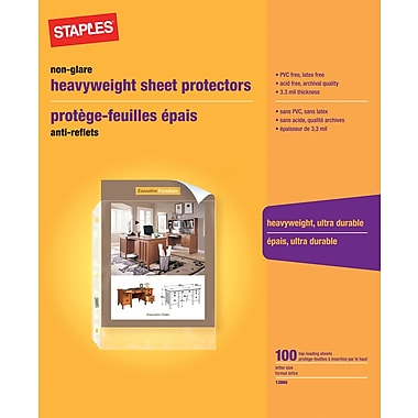 Staples® Clear Heavyweight Sheet Protectors, Non-Glare, 100-Pack