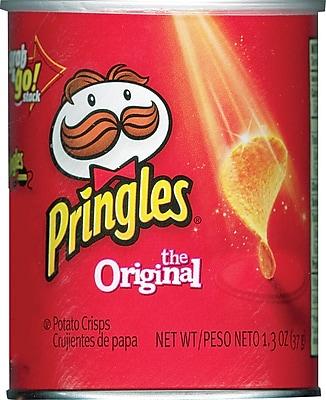 Pringles® Grab and Go Potato Crisps, Original, 1.3 oz. Cans, 36 Cans/Box