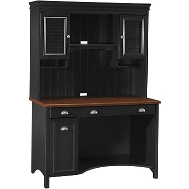 Bush Furniture Stanford Computer Desk with Hutch, Antique Black/Hansen Cherry (STF002)