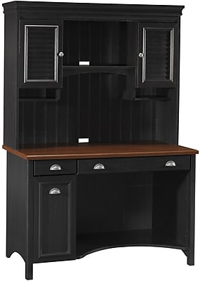Bush Furniture Stanford Desk and Hutch, Antique Black with Hansen Cherry