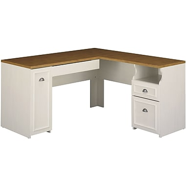 Bush Furniture Fairview 60W L-Desk Antique White (WC53230K)