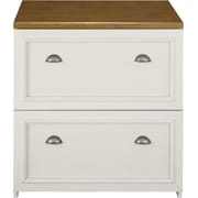 Bush Furniture Fairview Lateral File Cabinet, Antique White/Tea Maple (WC53281-03)