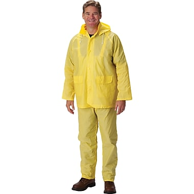 Falcon 3-Piece Rainsuit With Jacket, Yellow, 2-Extra Large, .25mm, PVC Fabric