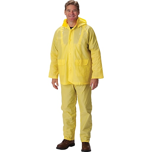 Falcon 3-Piece Rainsuit With Jacket, Yellow, Large, .25mm, PVC Fabric