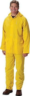 Falcon 3-Piece Rainsuit With Jacket, Yellow, 2-Extra Large, .35mm, PVC/Polyester Fabric