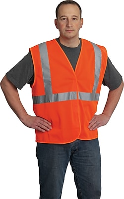 PIP Hi-Vis Safety Vest, ANSI Class 2, Hook & Loop Closure, Orange, Extra Large