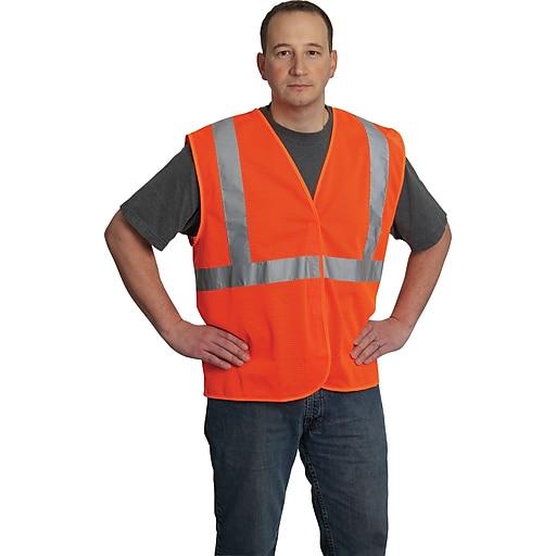 PIP Hi-Vis Safety Vest, ANSI Class 2, Hook & Loop Closure, Orange, Large