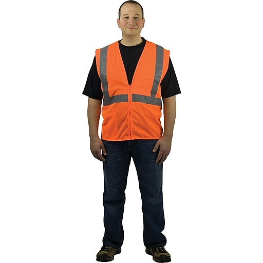 PIP Hi-Vis Safety Vest, ANSI Class 2, Zipper Closure, Orange, Large