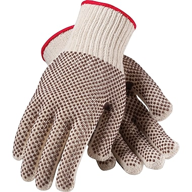 PIP Knit Work Gloves With PVC Coating, White & Black, Dozen