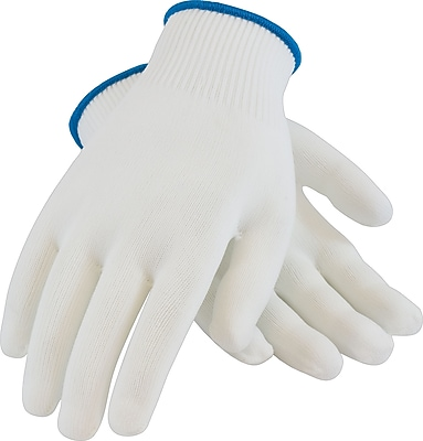 CleanTeam Seamless Knit Work Gloves, 100% Nylon, Small, White, 12 Pairs