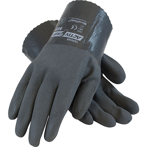 ActivGrip Chemical Resistant Work Gloves, Cotton With MicroFinish Nitrile Coating, XL, Gray