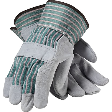 PIP Work Gloves, Split Leather With Safety Cuffs, Small, Multi-Colored, 12 Pairs
