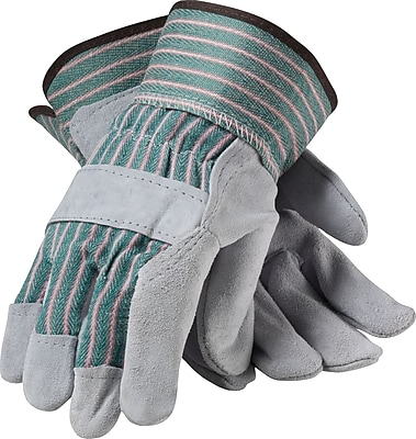 PIP Work Gloves, Split Leather With Safety Cuffs, Medium, Multi-Colored, 12 Pairs