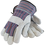 PIP Work Gloves, Split Cowhide With Safety Cuffs, Multi-Colored, 12 Pairs