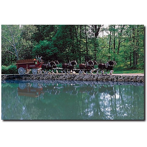 """Trademark Global """"Clydesdales on Green Pond"""" Canvas Art, 16"""" x 24"""""""