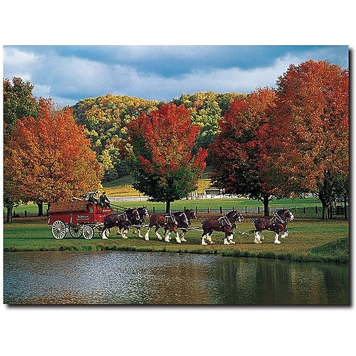 """Trademark Global k """"Clydesdales Fall"""" Canvas Art, 18"""" x 24"""""""