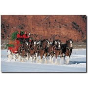 """Trademark Global """"Clydesdales in Snow with Carriage & Xmas Tree"""" Canvas Art, 16"""" x 24"""""""