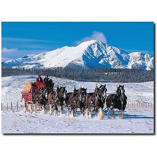 """Trademark Global """"Clydesdales in Snow Covered Mountains"""" Canvas Art, 14"""" x 19"""""""