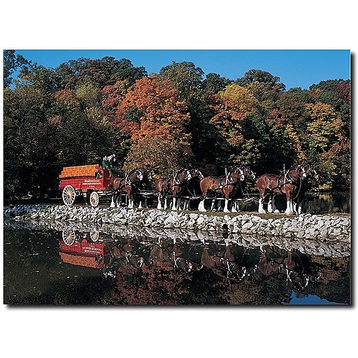 """Trademark Global """"Clydesdales in Fall by Stone Pond"""" Canvas Art, 14"""" x 19"""""""