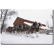 "Trademark Global ""Clydesdales Snowing in front of Barn"" Canvas Art, 16"" x 24"""