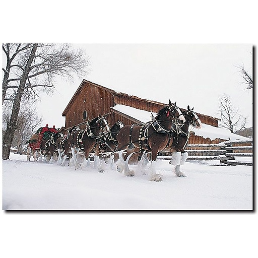 """Trademark Global """"Clydesdales Snowing in front of Barn"""" Canvas Art, 16"""" x 24"""""""