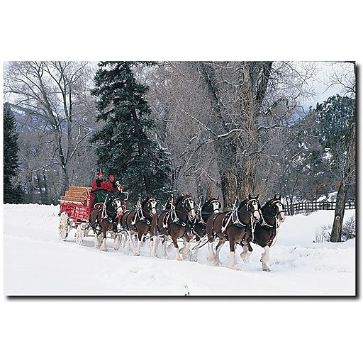 """Trademark Global """"Clydesdales Snowing in Forest"""" Canvas Art, 16"""" x 24"""""""
