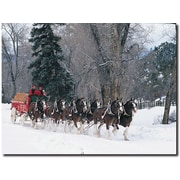 "Trademark Global ""Clydesdales Snowing in Forest"" Canvas Art, 24"" x 32"""