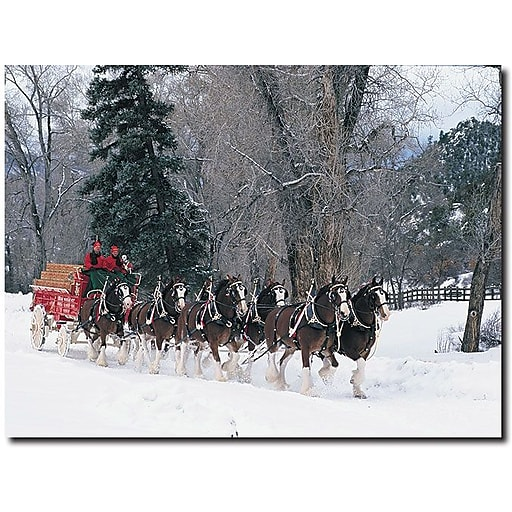 """Trademark Global """"Clydesdales Snowing in Forest"""" Canvas Art, 24"""" x 32"""""""