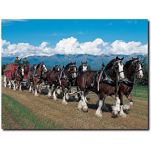 """Trademark Global """"Clydesdales in Blue Sky Mountains"""" Canvas Art, 18"""" x 24"""""""